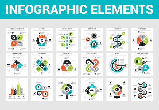18 Square Infographic Icons 1