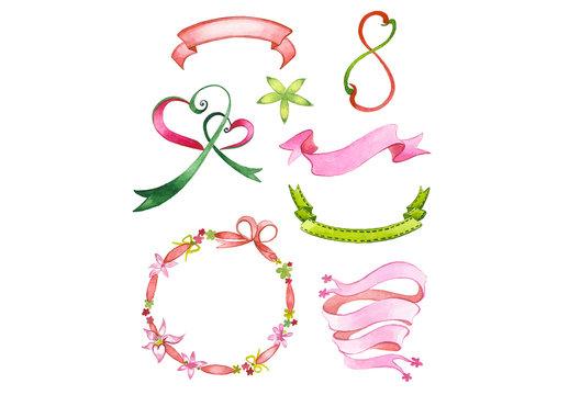 Watercolor Ribbons and Embellishments Set 1