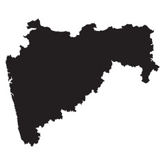 Maharashtra black map on white background vector