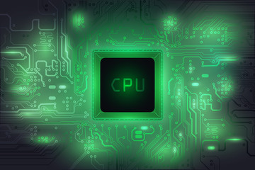 Central Processing Unit (CPU) digital tech on green mainboard circuit background, vector illustration EPS 10