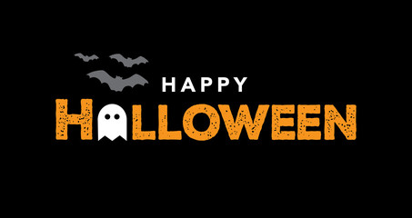 Happy Halloween Typography Over Black with Bats and Ghost. Vector Illustration.