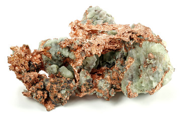 native copper from Michigan/ USA isolated on white background