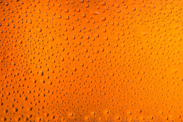 Texture of drops on a glass bottle