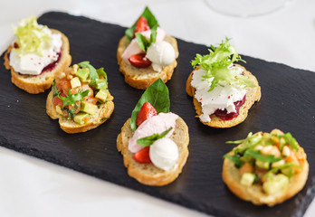 Photo sur Plexiglas Entree different kinds of canape