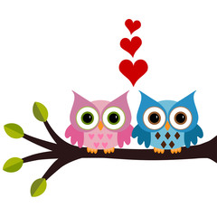 owl with hearts a branch