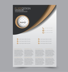 Flyer template. Abstract brochure background. Business corporate style concept. Vector illustration.  Black and brown color.