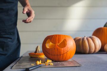 Carving a pumpkin for halloween
