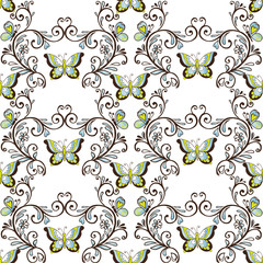 Classic seamless pattern with butterflies brown and blue