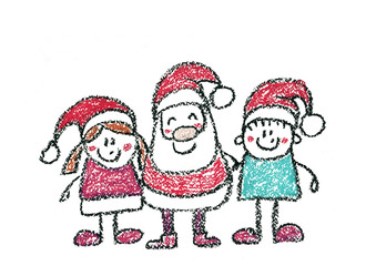 Santa Claus with small children Father frost with kids Kindergarten children wearing Christmas hat Xmas illustration New year celebration