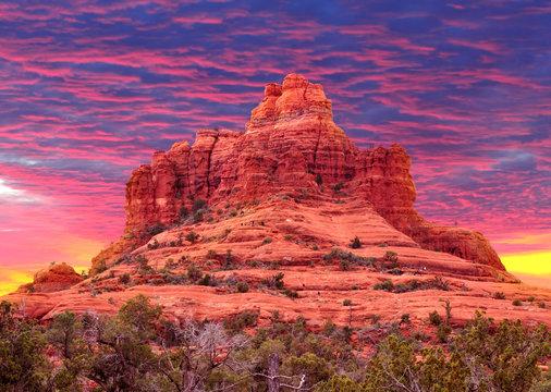 Colorful sunset at Bell Rock in Sedona, Arizona USA