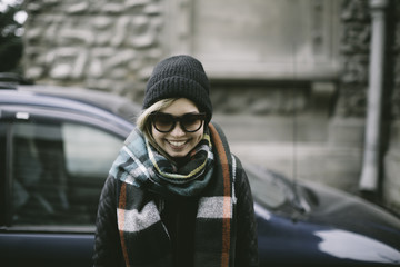 Happy asian woman on the street