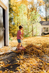 boy raking yellow leaves