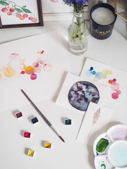 Colorful painting with watercolor