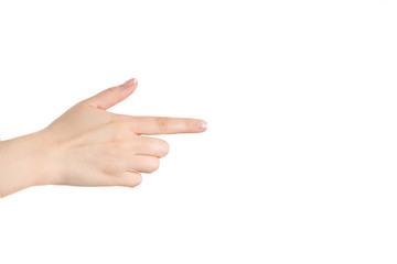 Female index finger on a white background.