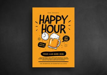 Retro Happy Hour Flyer Layout