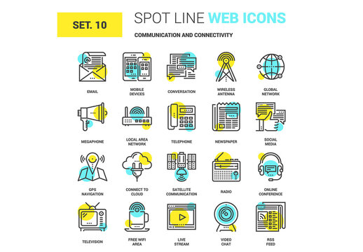 20 Yellow and Cyan Communication Icons 1