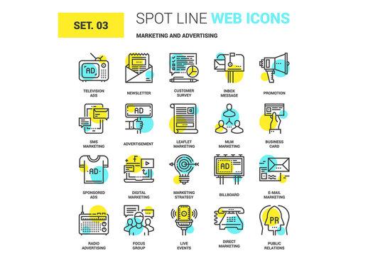 20 Yellow and Cyan Marketing Icons 1