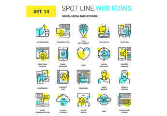20 Yellow and Cyan Social Media Icons 1