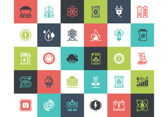 30 Multicolored Square Energy Icons 1