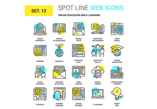 20 Yellow and Cyan Education Icons 1