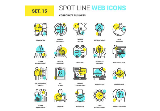 20 Yellow and Cyan Business Icons 1