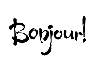 Bonjour card or poster. Lettering. Ink illustration. Vector