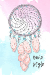 Dreamcatcher boho style. Hand drawing.