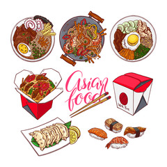 set of colorful Asian food