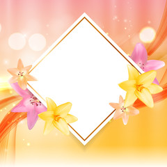 Abstract Frame with Lily Flower. Natural Background. Vector Illu