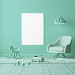 Mock up of a children's bedroom in a locally turquoise color. Scandinavian style. 3d rendering.