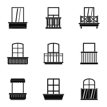 House balcony icon set, simple style