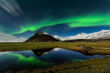 maravilhosa paisagem nocturna nos céus da islandia com uma fantástica Aurora Boreal. Glacier lagoon em Jokulsarlon