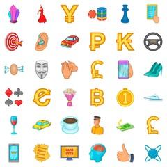 Gemstone icons set, cartoon style