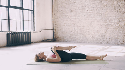 Exercises of Yoga are lying and sitting on the mat.