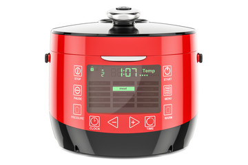 Red Automatic Multicooker, 3D rendering