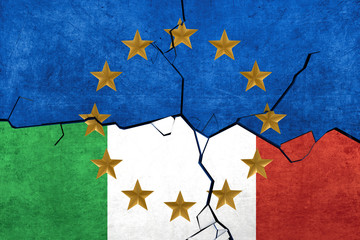European union and Italian flags breaking apart