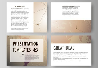 The minimalistic abstract vector illustration of the editable layout of the presentation slides design business templates. Global network connections, technology background with world map.