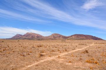 Approaching Mount Ohlssen-Bagge at Wilpena Pound - Flinders Ranges, SA, Australia