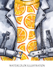 Watercolor illustration. Hand painted leather jacket with fresh orange. Healthy style.