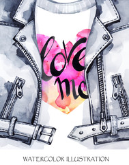 Valentines Day Card. Hand painted leather jacket with lovely words.
