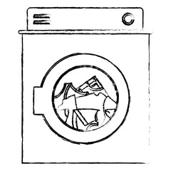 monochrome blurred silhouette of washing machine with clothes