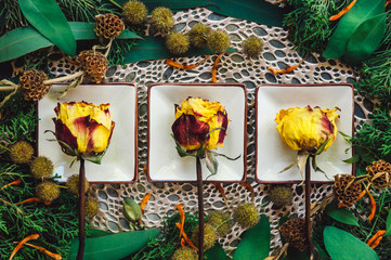 Ceramic Dishes with Yellow and Red Roses