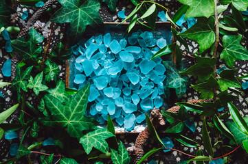 Ceramic Dish of Blue Glass