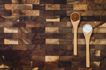 Wooden Spoons with Cocoa and Baking Powders