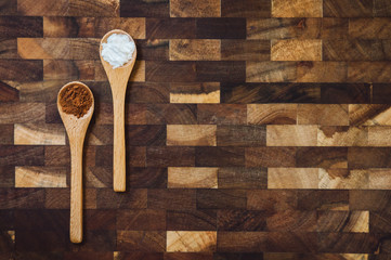 Wooden Spoons with Baking Powder and Cocoa