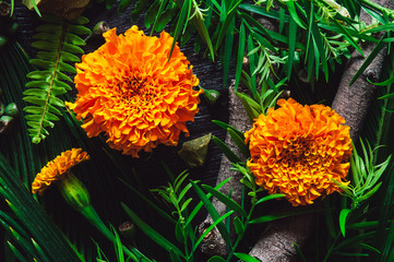 Marigold Flowers with Botanicals and Green Opal