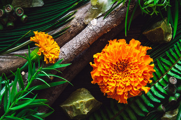 Marigold Flowers with Botanicals, Green Opal and Green Calcite