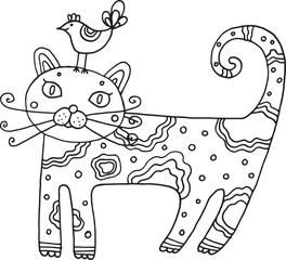 Kid's drawn cat with bird. Isolated vector line art for children's coloring book. Illustration for coloring
