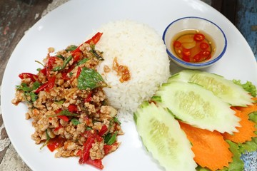 fried rice with basil and pork
