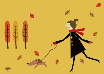 秋のイメージ コートを着た女性